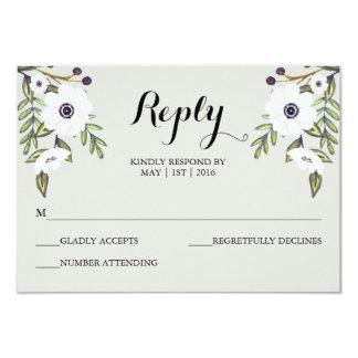 Painted Anemones - Wedding RSVP Card 9 Cm X 13 Cm Invitation Card