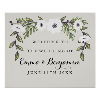 Painted Anemones Wedding Welcome Sign