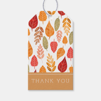 Painted Autumn Leaves Pattern Gift Tags
