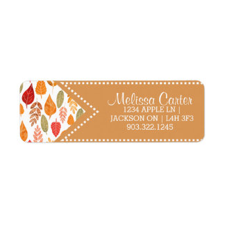 Painted Autumn Leaves Pattern Return Address Label