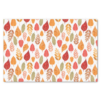 Painted Autumn Leaves Pattern Tissue Paper