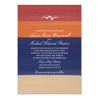 Painted Autumn Sand, Sea & Seagulls | Wedding Card