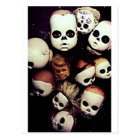 Painted baby doll heads postcard