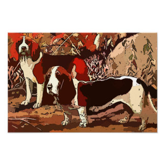 Painted Beagles on Canvas Posters