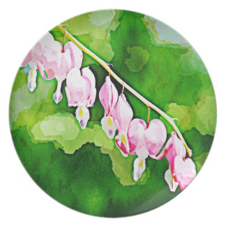 Painted Bleeding Hearts Party Plates