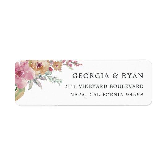 Painted Blooms Return Address Return Address Label