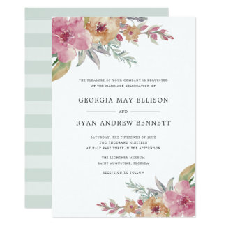 Painted Blooms Wedding Invitation