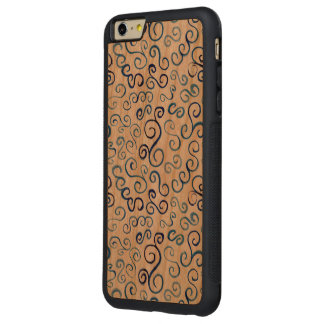 Painted Blue Abstract Curves on Wood iPhone 6 Plus Case