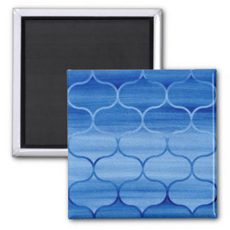 Painted Blue Geometric Ogee Design Square Magnet