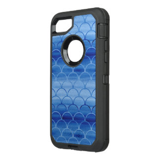 Painted Blue Scale Pattern Gradient OtterBox Defender iPhone 7 Case