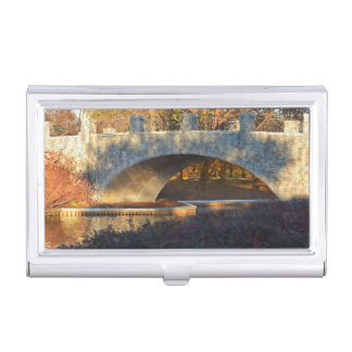 Painted Bridge At Sunset by Shirley Taylor Business Card Holder