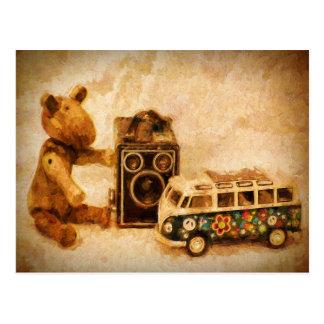 Painted brown wooden vintage toys camera car bear postcard