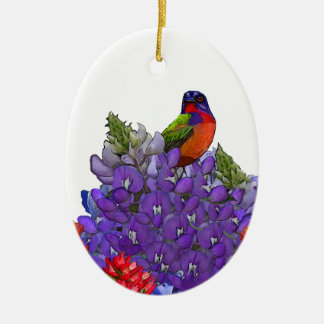 Painted Bunting on Bluebonnets Christmas Ornament