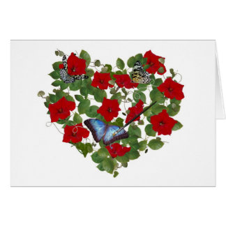Painted Butterfly in Petunia Heart Card