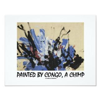 Painted By Congo, A Chimp 11 Cm X 14 Cm Invitation Card