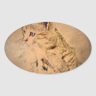 painted cat oval sticker