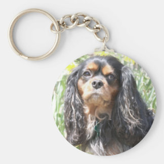 Painted Cavalier King Charles Spaniel Key Ring