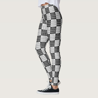 Painted Checkered swirls (Black/White) Leggings