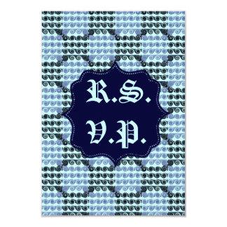 Painted Checkered Swirls (Blue) (Wedding) 9 Cm X 13 Cm Invitation Card