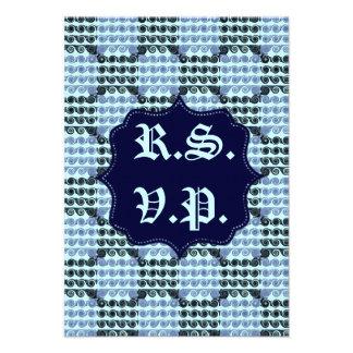 Painted Checkered Swirls Blue Wedding Announcement