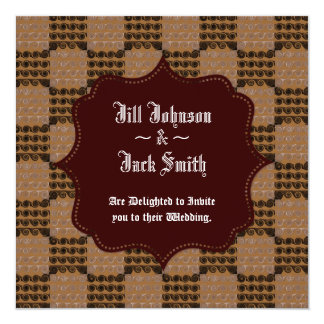 Painted Checkered Swirls (Brown) (Wedding) 13 Cm X 13 Cm Square Invitation Card
