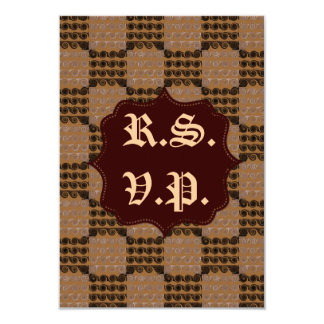 Painted Checkered Swirls (Brown) (Wedding) 9 Cm X 13 Cm Invitation Card