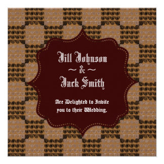 Painted Checkered Swirls Brown Wedding Personalized Invitations