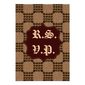 Painted Checkered Swirls Brown Wedding Invites