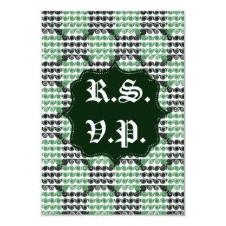 Painted Checkered Swirls (Green) (Wedding) 9 Cm X 13 Cm Invitation Card
