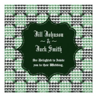 Painted Checkered Swirls Green Wedding Custom Invite