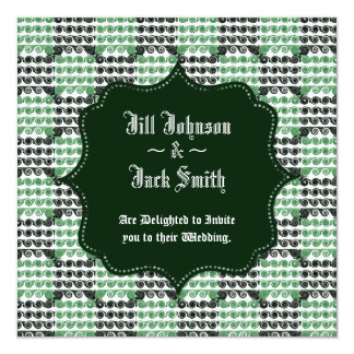 "Painted Checkered Swirls (Green) (Wedding) 5.25"" Square Invitation Card"