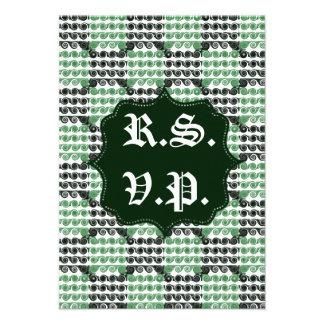 Painted Checkered Swirls Green Wedding Custom Announcements