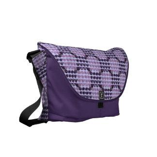 Painted Checkered Swirls (Purple) Messenger Bag