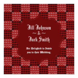 Painted Checkered Swirls (Red) (Wedding) 13 Cm X 13 Cm Square Invitation Card