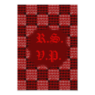 Painted Checkered Swirls (Red) (Wedding) 9 Cm X 13 Cm Invitation Card