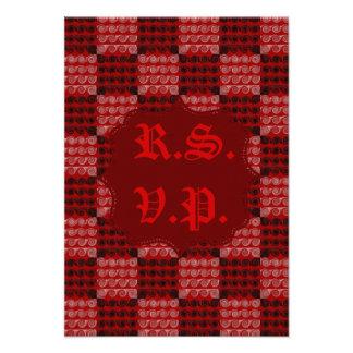 Painted Checkered Swirls Red Wedding Invite