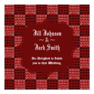 Painted Checkered Swirls Red Wedding Custom Invitations
