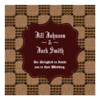 Painted Chequered Swirls (Brown) (Wedding) 13 Cm X 13 Cm Square Invitation Card