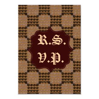 Painted Chequered Swirls (Brown) (Wedding) 9 Cm X 13 Cm Invitation Card