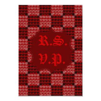 Painted Chequered Swirls (Red) (Wedding) 9 Cm X 13 Cm Invitation Card
