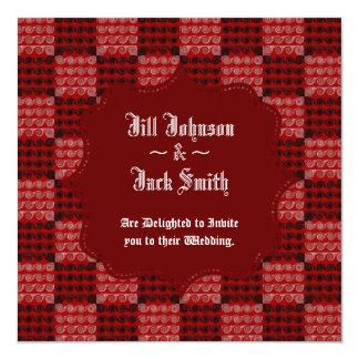 Painted Chequered Swirls (Red) (Wedding) 13 Cm X 13 Cm Square Invitation Card