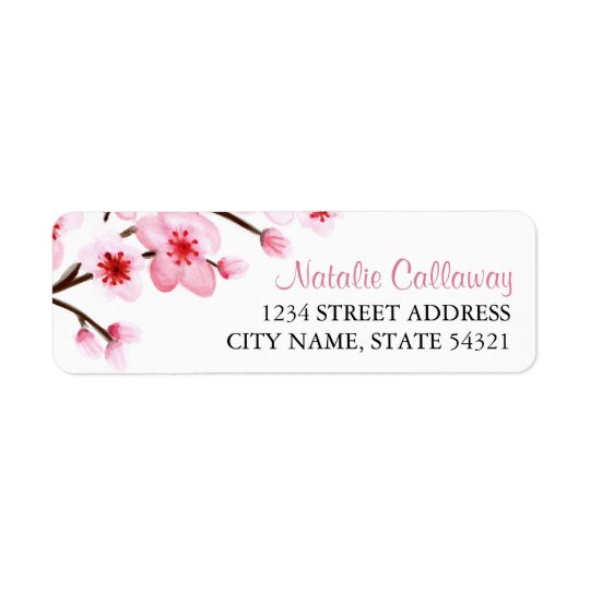 Painted Cherry Blossoms Return Address Labels