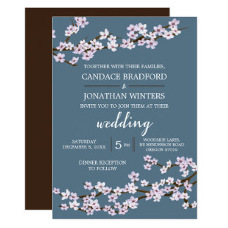 Painted Cherry Blossoms Wedding Card