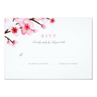 Painted Cherry Blossoms Wedding RSVP Card