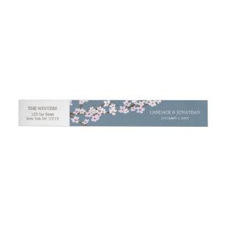 Painted Cherry Blossoms Wrap-around Sticker Wraparound Address Label