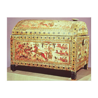 Painted chest depicting king on chariot canvas print