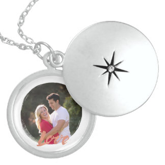 Painted circle frame & rose gold Love photo design Sterling Silver Necklace