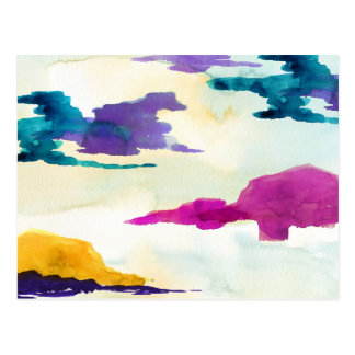 Painted Colourful Abstract Watercolour Postcard