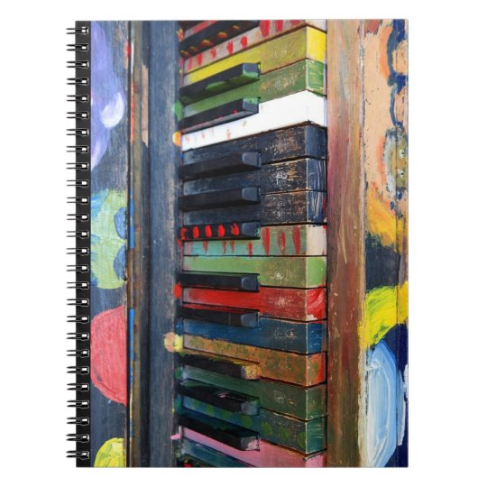 Painted Colourful Antique Piano Keys Notebook