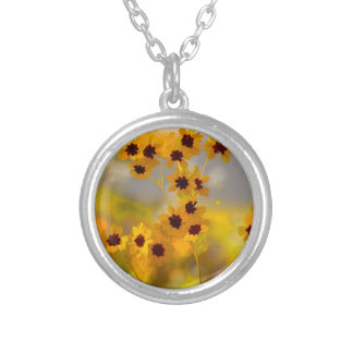 Painted Coreopsis tinctoria Wildflowers Personalized Necklace